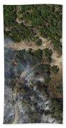 A Wildfire Burns Land Near Austin Bath Towel