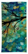 Abstract Art Original Landscape Painting Colorful Circles Morning Blues II By Madart Bath Towel