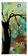 Abstract Art Original Landscape Painting Colorful Circles Morning Blues IIi By Madart Bath Towel