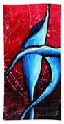 Abstract Calla Lilly Textured Painting Greeting Lillies By Madart Bath Towel