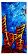 Abstract Cityscape Art Original City Painting The Lost City II By Madart Bath Towel