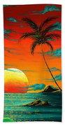 Abstract Surreal Tropical Coastal Art Original Painting Tropical Burn By Madart Bath Towel