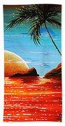 Abstract Surreal Tropical Coastal Art Original Painting Tropical Fusion By Madart Bath Towel