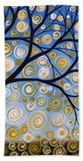 Abstract Tree Nature Original Painting Starry Starry By Amy Giacomelli Bath Towel