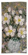 Abstract Wild Roses Heavy Impasto Bath Towel