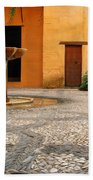 Alhambra Courtyard And Fountain In Spain Bath Towel