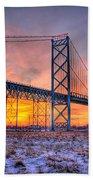 Ambassador Bridge Sunrise 1-16-2012  Detroit Mi Bath Towel