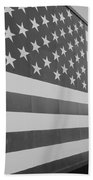 American Flag At Nathan's In Black And White Bath Towel