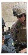 An Afghan Police Student Aiming A Rpg-7 Bath Towel