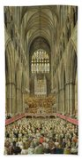 An Interior View Of Westminster Abbey On The Commemoration Of Handel's Centenary Bath Towel