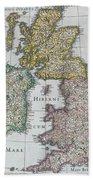 Antique Map Of Britain Hand Towel