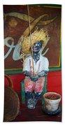 Antique Plaster Black Child Fisherman With Coca Cola Background Bath Towel