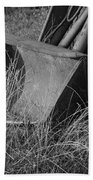 Antique Tractor Bucket In Black And White Bath Towel