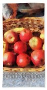 Apples And Bananas In Basket Hand Towel