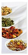 Assorted Herbal Wellness Dry Tea In Spoons Bath Towel