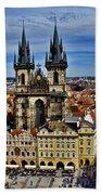 Atop The Clock Tower - Prague Bath Towel