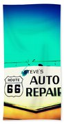 Auto Repair Sign On Route 66 Bath Towel