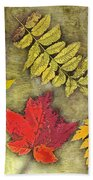 Autumn Leaf Collage Bath Towel
