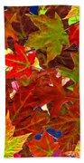 Autumn Leaves Collage Bath Towel