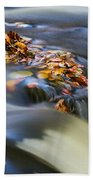 Autumn Leaves In Water Bath Towel