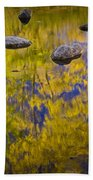 Autumn Tree Reflections With Rocks On The Muskegon River Bath Towel