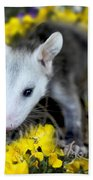 Baby Opossum In Flowers Bath Towel
