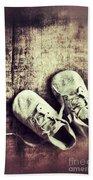 Baby Shoes On Wood Bath Towel