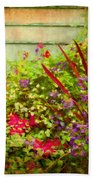 Backyard Flower Garden Bath Towel