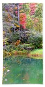 Barn And Pond In The Fall Bath Towel