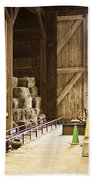Barn With Hay Bales And Farm Equipment Hand Towel