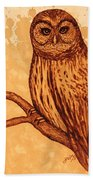 Barred Owl Coffee Painting Bath Towel