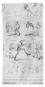 Baseball Cartoons, 1859 Bath Towel