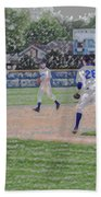 Baseball Runner Heading Home Digital Art Bath Towel
