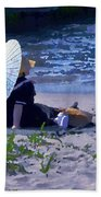 Bather By The Bay - Square Cropping Bath Towel by David Coblitz