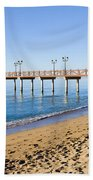 Beach Pier In Marbella Hand Towel