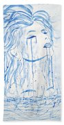 Beautiful Sea Woman Watercolor Painting Bath Towel