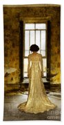 Beautiful Woman In Lace Gown In Abandoned Room Bath Towel