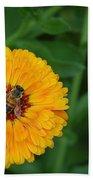 Bee On Yellow Flower Bath Towel
