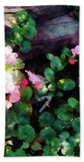 Begonias By Stone Wall Bath Towel