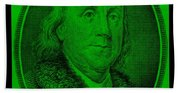 Ben Franklin In Green Bath Towel
