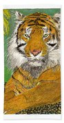 Bengal Tiger With Green Eyes Bath Towel