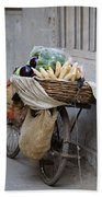 Bicycle Loaded With Food, Delhi, India Bath Towel