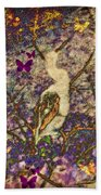 Bird And Butterflies Bath Towel