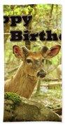 Birthday Greeting Card - Whitetail Deer Buck In Velvet Bath Towel