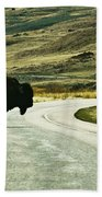 Bison Crossing Highway Bath Towel