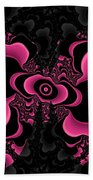 Black And Pink Fractal Butterfly Bath Towel