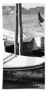 Black And White Gondolas Venice Italy Bath Towel
