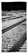 Black And White Railroad Tracks Bath Towel