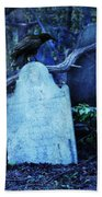 Black Bird Perched On Old Tombstone Bath Towel