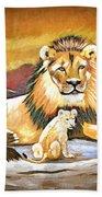 Black Maned Lion And Cub Bath Towel